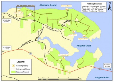 This map of the Palmetto-Peartree Preserve shows the network of logging roads throughout the preserve. Map: The Conservation Fund