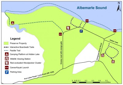 This map of the Palmetto-Peartree Preserve shows the recreation area, which is open to the public year-round. Map: The Conservation Fund