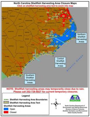 Shellfish Sanitation provides online maps of current closures.