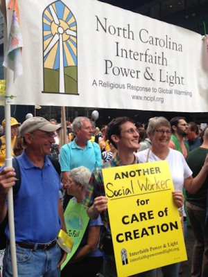 Mark Hooper, far left, and Penny attend a climate-change conference in New York. Photo: N.C. Interfaith Power & Light