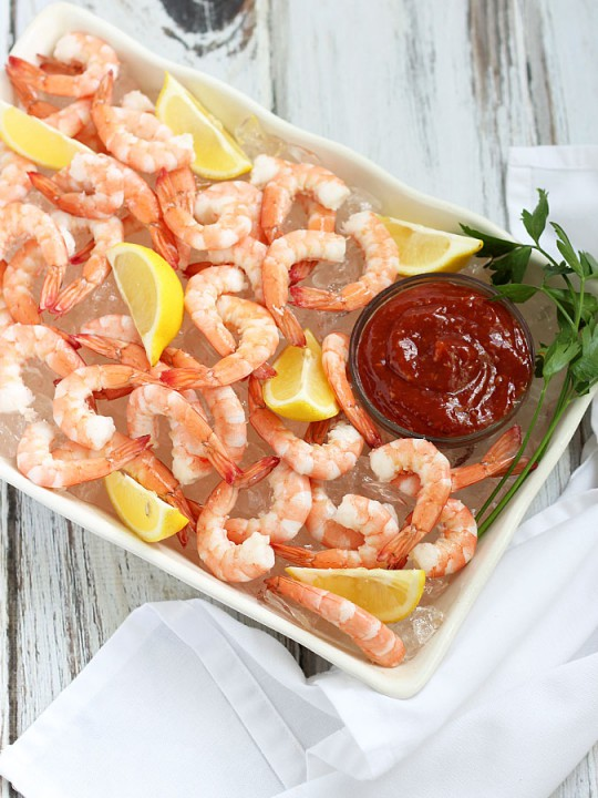 Shrimp cocktail is typically served as an appetizer with a cocktail dipping sauce. Photo: Amy Brinkley