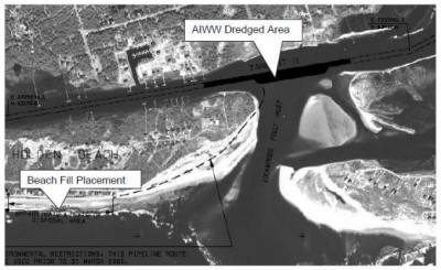 This image from the environmental study shows the site where sand would be taken at the crossing of the intracoastal waterway and Lockwood Folly Inlet and the placement area on the east end of Holden Beach.