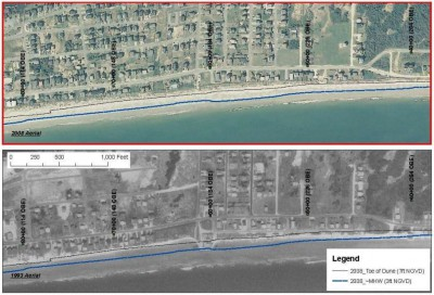 This image from the environmental study shows a comparison of aerial photos of Holden Beach in 2008, above, and 1993.