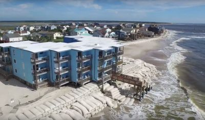 Aerial footage captured last week shows damage to the shoreline at North Topsail Beach from the recent coastal storm.