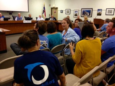 Members of the environmental group Oceana attend the meeting in Emerald Isle Tuesday. Photo: Oceana N.C.