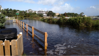 Water flooded the streets of Ocracoke. Photo: NCDOT