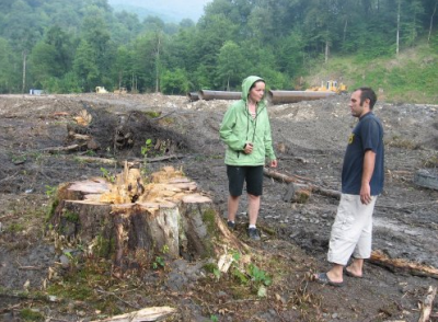 Members of Environmental Watch of the North Caucasus examine a clear cut for a road to Sochi for the Winter Olympics in 2014. Photo: Environmental Watch of the North Caucasus