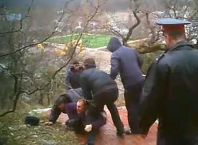 Members of Environmental Watch of the North Caucasus are arrested by police in 2011 for protesting environmental abuses in a public forest on the Black Sea. Photo: Environmental Watch of the North Caucasus