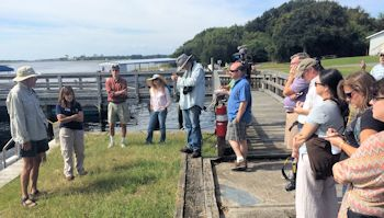 The group of scientists, policy experts, journalists and meteorologists met at Hammocks Beach State Park to discuss living shorelines. Photo: Mark Hibbs, Coastal Review Online