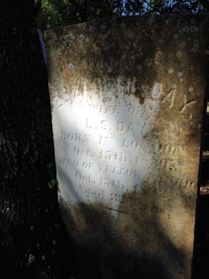 A headstone of one of the more than 400 yellow fever victims buried in Oakdale Cemetery. Photo: N.C. Health News