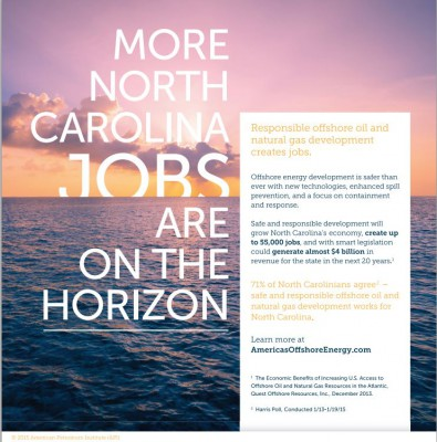 Print ads promoting offshore energy development as safe, responsible and economically beneficial began running Oct. 28 in North Carolina, Virginia and South Carolina newspapers. Source: American Petroleum Institute