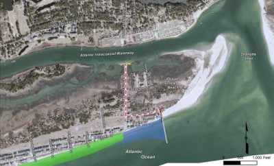 This image shows the location of the proposed Ocean Isle Beach terminal groin. Photo: Army Corps of Engineers