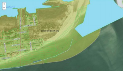 This aerial map of properties east of Shallotte Boulevard in Ocean Isle Beach shows submerged properties under water for a number of years. Source: Brunswick County GIS.