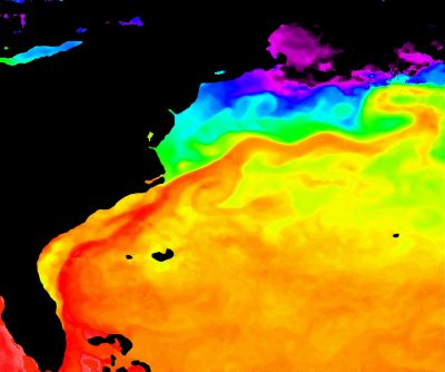This infrared image shows the warm waters of the Gulf Stream hugging the Southeast coast, moving millions of gallons of water per second. Photo: NASA