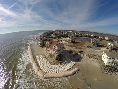Sandbags are shown in place at North Topsail Beach in this January 2014 image. Photo: Town of North Topsail Beach