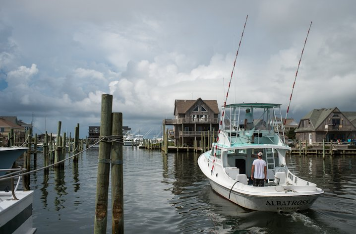 With a storm coming, Ernie Foster moves the Albatross to a safe anchorage