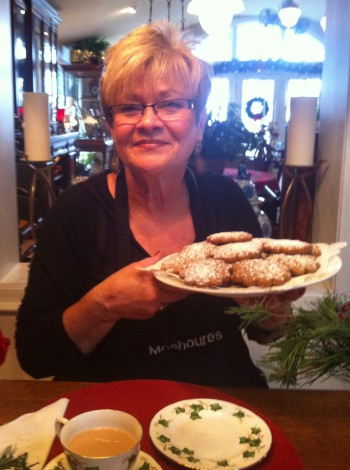 Karen Moshoures serves tea and gingerbread cookies at her home in Ocean Isle Beach, Photo: Allison Ballard