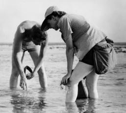 Rachel Carson, left, collects samples along the Atlantic coast. Photo: U.S. Fish and Wildlife Service