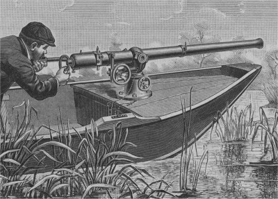 Huge guns -- cannon, really -- were mounted on the bows of punt boats. One well-aimed shot could bring down hundreds of egrets, pelicans and other birds, whose plumage then decorated women's hats. Photo: N.C. Division of Archives and History