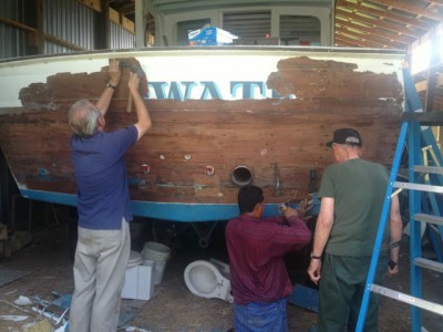The Deepwater was moved her from the barn, where she had spent 22 years, to Wanchese where restoration began in the original Buddy Davis Boatworks building in November 2013. Photo: deepwatermanteo.com