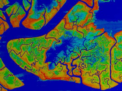 An aerial image with false colors that show marsh elevations in the Venice Lagoon.Photo: Marco Marani, Duke University
