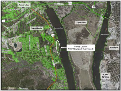 The State Ports Authority plans to convey a conservation easement to the N.C. Department of Environmental Quality for a 13.4-acre tract the authority owns on the Brunswick River that is mostly coastal marsh within primary fisheries nursery habitat. Photo: Department of Environmental Quality