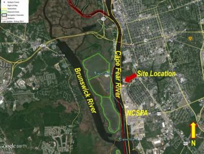 The Wilmington port is about 25 miles north of the river's mouth and 1.2 miles south of the Cape Fear Memorial Bridge. Photo: Department of Environmental Quality
