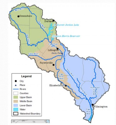 The Cape Fear River basin, the state's largest river basin, extends from near Greensboro and High Point in the Piedmont to the Wilmington area on the coast. The area includes all or part of 27 counties. Source: National Oceanic and Atmospheric Administration