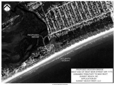 A company called Sunset Beach West LLC wants to build the private bridge to access a planned oceanfront housing development in an area that was once an inlet.
