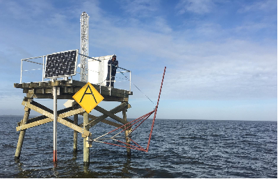This is one of the platforms the Army Corps of Engineers erected in Currituck Sound to monitor water quality and sea-level rise. Photo: Army Corps of Engineers