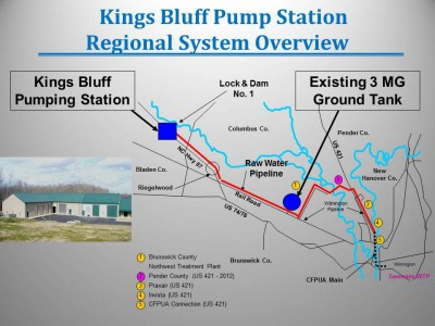 The Cape Fear Public Utility Authority draws most of its water from the Cape Fear River at the King's Bluff Pumping Station, about 24 miles from Wilmington. The remainder comes from groundwater. Image: Lower Cape Fear Water & Sewer Authority