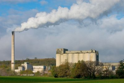 Industrial smokestacks directly emit particle pollution, but they also emit sulfur dioxide and nitrogen oxides, which react in the atmosphere to form fine particle pollution. Photo courtesy U.S. EPA