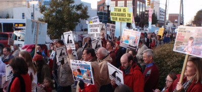 Opponents organize a protest against Titan America's planned cement plant near Wilmington. Photo: N.C. Coastal Federation