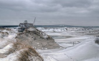 A snowy beach  is a delight to behold. Photo: Don Bowers, Island Free Press