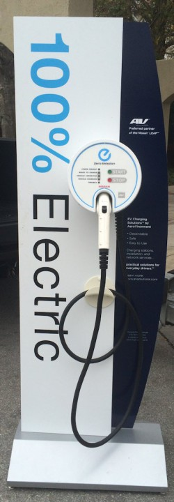 Here is an example of a charging station designed for the Nissan LEAF. Photo: Mark Hibbs