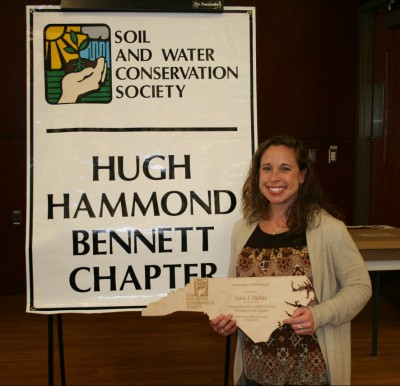 Sara Hallas poses with her 2016 Conservation Communicator Award  Saturday in Raleigh. Photo: contributed