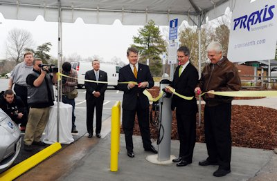 Officials unveil on Jan. 11, 2012, one of the state's first electric vehicle charging stations at a highway rest area in Alamance County. The charging station was later removed because of a legislative directive. Photo: N.C. Department of Transportation