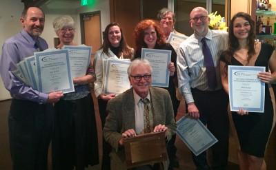 The award winners, from left: Sam Bland, Pat Garber, Trista Talton, Frank Tursi, Catherine Kozak, Kirk Ross, Mark Hibbs and Tess Malijenovsky.