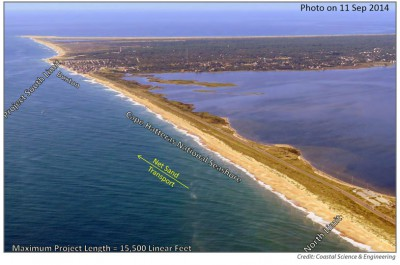 The proposed beach renourishment would cover about 2.9 miles of beach. Photo: Coastal Science and Engineering