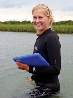 Rachel Gittman research on the Outer Banks has shown that living shorelines can withstand storms better than bulkheads. Photo: UNC