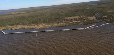 """A """"reefmaker"""" was installed to protect wetlands in Louisiana. Photo: Walter McKee"""