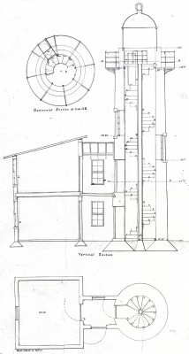 A detail from the original plans for the Bogue Banks Lighthouse shows the structure stood about 50 feet tall. Image: Friends of Fort Macon