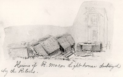 Confederate troops on March 27, 1862, toppled the lighthouse, which broke apart into sections as it fell to the sand. Image: Friends of Fort Macon