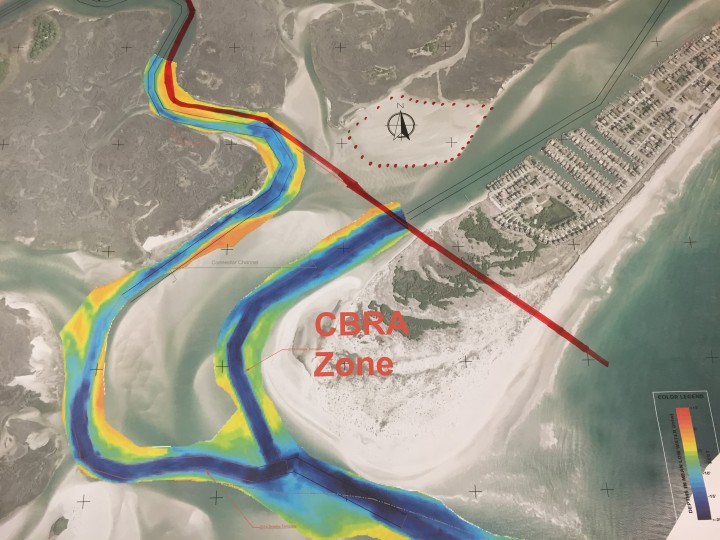 This map depicts the area of Banks Channel that lies within the Coastal Barrier Resources Act zone. Topsail Beach leaders have asked the U.S. Army Corps of Engineers to request an exception to be allowed to designate a sand borrow site within the zone for future federal funded beach re-nourishment projects.