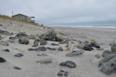 Rocks remain  as of Feb 12 in an area where the town was required to remove rocks as deep as 18 inches. Photo: Mike Giles