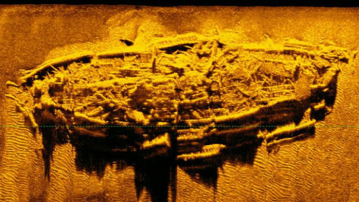 This sonar image may be the remains of one of three blockade runners used to penetrate the wall of Union naval vessels blocking the port of Wilmington during the Civil War. Photo: N.C. Department of Natural and Cultural Resources