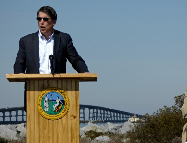 Gov. Pat McCrory speaks Tuesday during a groundbreaking event marking the start of construction of the long-awaited Bonner Bridge replacement. Photo: Kip Tabb