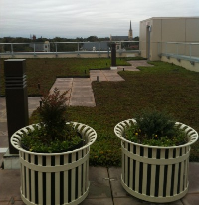 The roof provides a place for employees to father and offers stunning views of downtown Wilmington. Photo: Allison Ballar