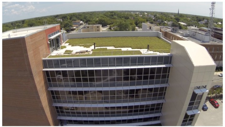 The planted roof at 320 Chestnut St. in Wilmington reduces the amount of stormwater runoff. Photo: Sawyer, Sherwood & Associate Architecture