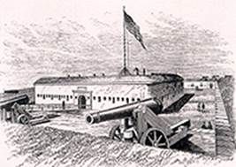 Fort Macon is a five-sided structure built of brick and stone and completed in 1834. Image: Friends of Fort Macon